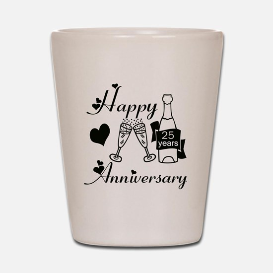 Anniversary black and white 25 Shot Glass