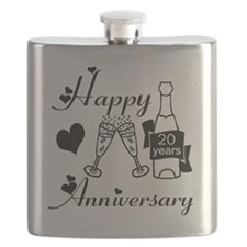 Anniversary black and white 20 Flask
