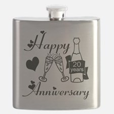 Anniversary black and white 20 Flask