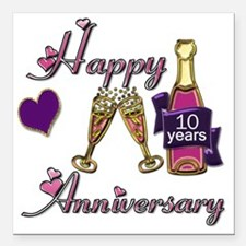 """Anniversary pink and pur Square Car Magnet 3"""" x 3"""""""