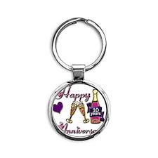 Anniversary pink and purple 10 Round Keychain