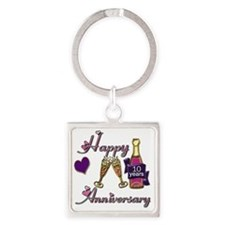 Anniversary pink and purple 10 Square Keychain