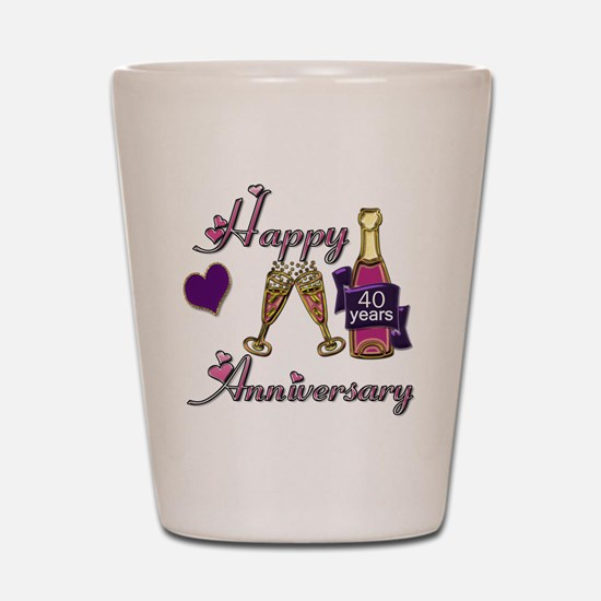 Anniversary pink and purple 40 Shot Glass