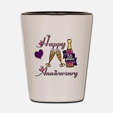 Anniversary pink and purple 55 Shot Glass