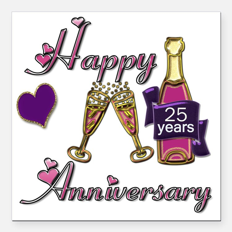 "Anniversary pink and pur Square Car Magnet 3"" x 3"""