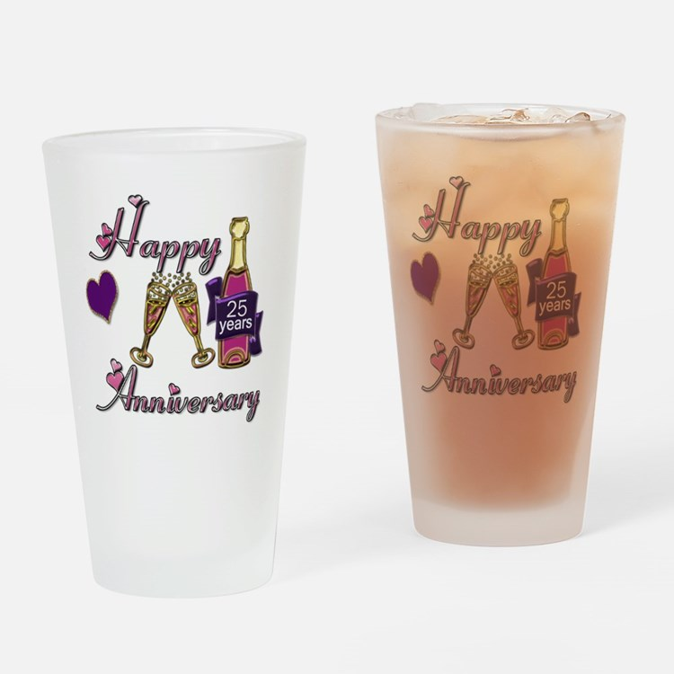 Anniversary pink and purple 25 Drinking Glass