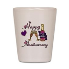 Anniversary pink and purple 25 Shot Glass