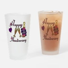 Anniversary pink and purple 50 Drinking Glass