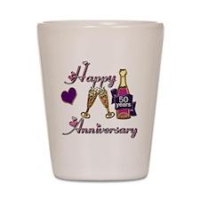 Anniversary pink and purple 50 Shot Glass