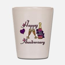 Anniversary pink and purple 50 Shot Glass