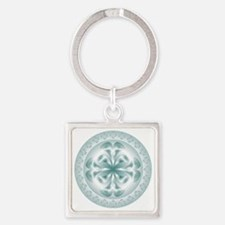 Silver flower copy Square Keychain