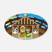 Nativity Poster Oval Car Magnet