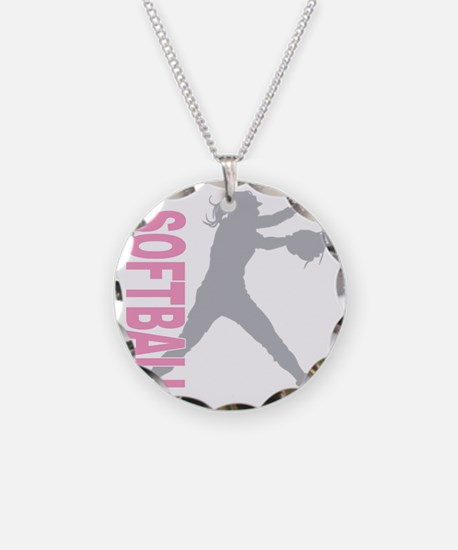 play softball a(blk) Necklace Circle Charm