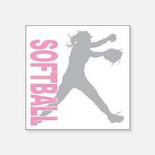 "play softball a(blk) Square Sticker 3"" x 3"""