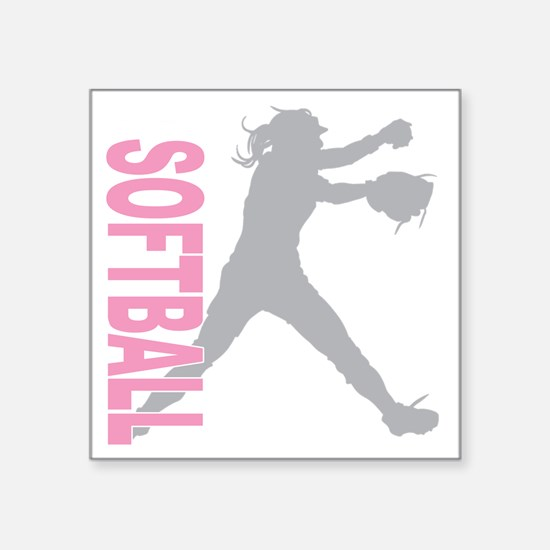 "play softball a(blk) Square Sticker 3"" x 3"""