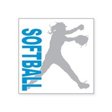 "play softball(blk) Square Sticker 3"" x 3"""