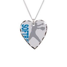 play softball(blk) Necklace Heart Charm