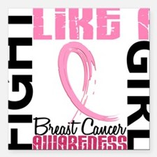 "- Breast Cancer Fight Li Square Car Magnet 3"" x 3"""