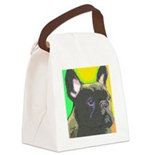 brindle frenchie cafe Canvas Lunch Bag