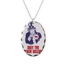 French-Bulldog18 Necklace Oval Charm