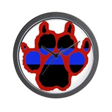 Red Paw FRONT AND BACK 10x10_apparel Wall Clock