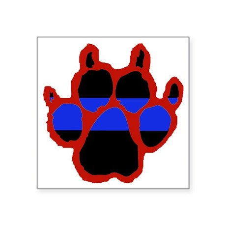 """Red Paw FRONT AND BACK 10x1 Square Sticker 3"""" x 3"""""""