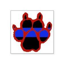 "Red Paw FRONT AND BACK 10x1 Square Sticker 3"" x 3"""