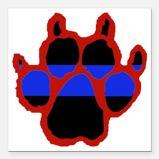 "Red Paw FRONT AND BACK 1 Square Car Magnet 3"" x 3"""