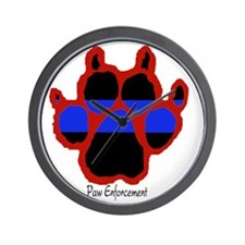 Red Paw  (Paw Enforcement- light) FRONT Wall Clock