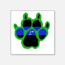 "Green Paw  2Ass (Paw Enforc Square Sticker 3"" x 3"""