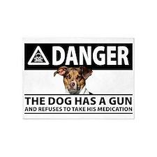 Doggie Danger 5'x7'Area Rug