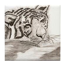 Sleeping Tiger Cub Art Tile Coaster