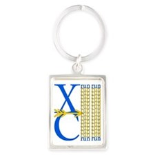 XC Run Blue Gold Portrait Keychain