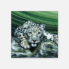 """Snow Leopard Square Sticker 3"""" x 3"""""""