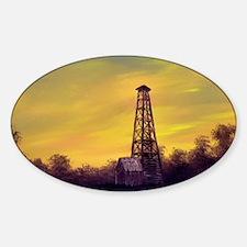 old derick sunset panel print Sticker (Oval)