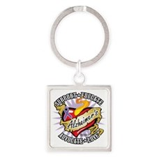 Alzheimers-Classic-Heart Square Keychain