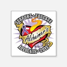 "Alzheimers-Classic-Heart Square Sticker 3"" x 3"""
