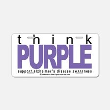 Alzheimers-THINK-Purple Aluminum License Plate