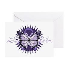 AlzheimersTribal-Butterfly-2009-blk Greeting Card