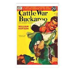 Postcards (pkg. 8)-'Cattle War Buckaroo'