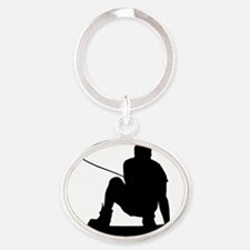 James K Grab Decal Oval Keychain