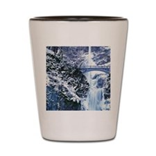 Multnomah Falls with snow and ice, wint Shot Glass