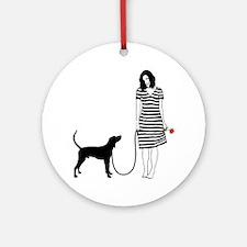 Treeing-Walker-Coonhound11 Round Ornament