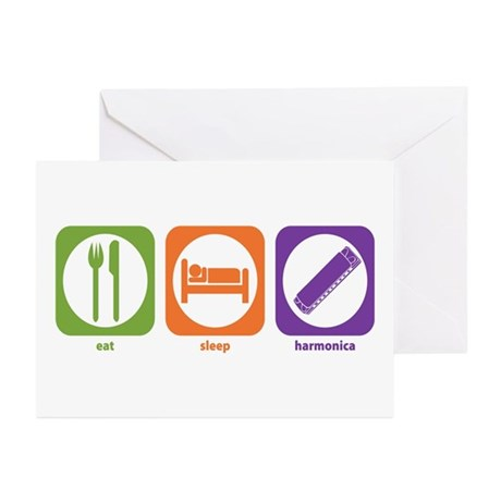 Eat Sleep Harmonica Greeting Cards (Pk of 10)