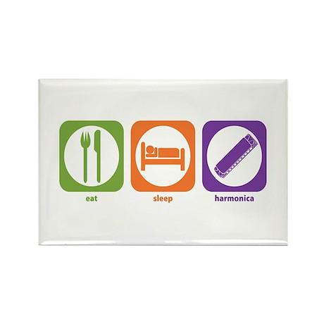 Eat Sleep Harmonica Rectangle Magnet (100 pack)