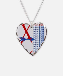 XC Run Red Blue Necklace Heart Charm