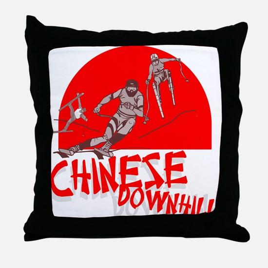 Chinese Downhill Throw Pillow