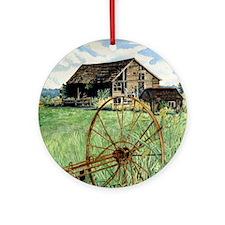 Barn  Wagon Wheel Round Ornament