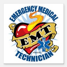 "EMT-Classic-Tattoo-Heart Square Car Magnet 3"" x 3"""
