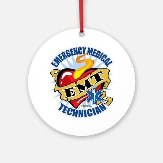 EMT-Classic-Tattoo-Heart Round Ornament